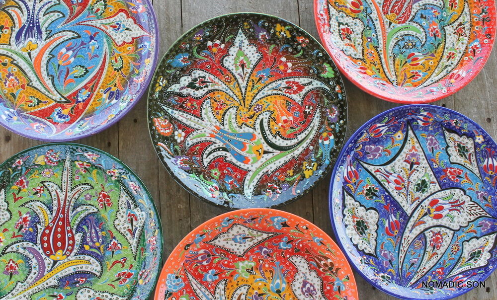 Intricate turkish ceramic plates 30cm handmade hand for Where to buy ceramic plates to paint
