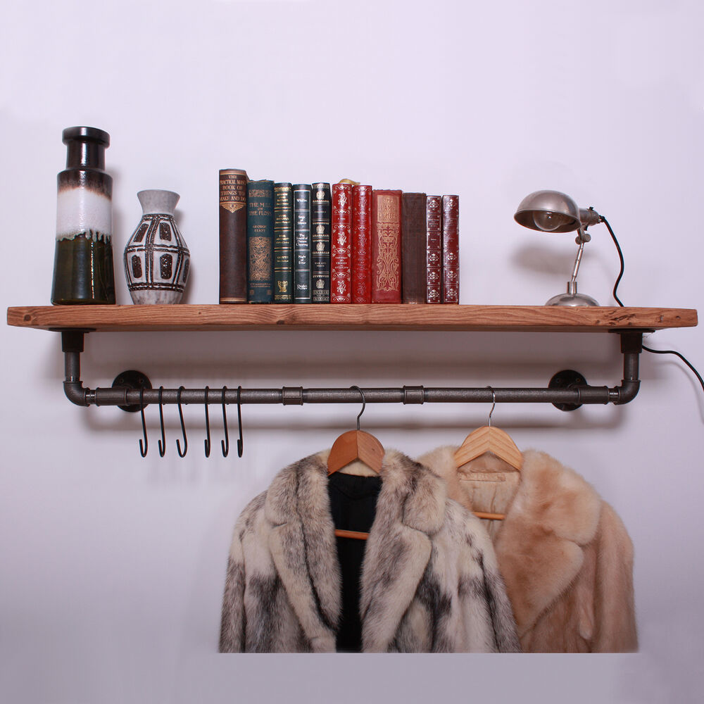 Clothes Rail With Shelf Amp Hooks Iron Gas Pipe Vintage