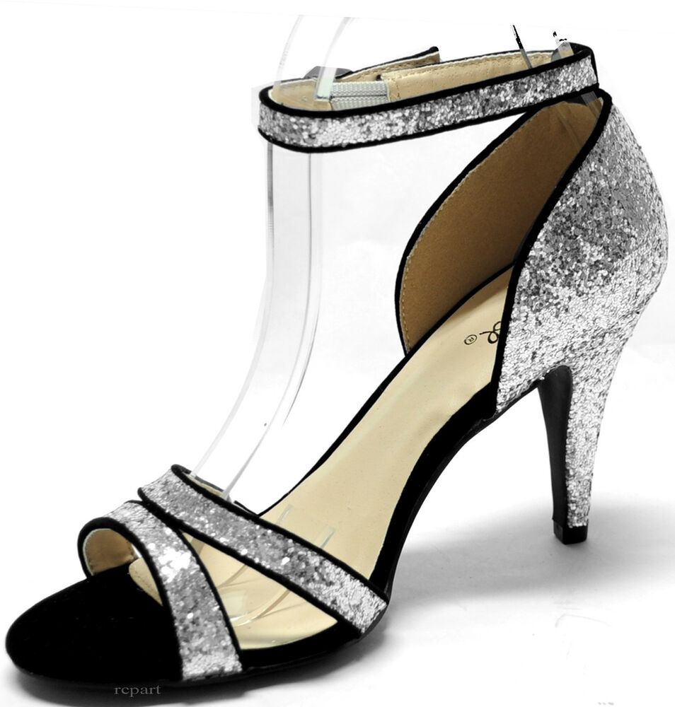 new s shoes evening stilettos black silver glitter