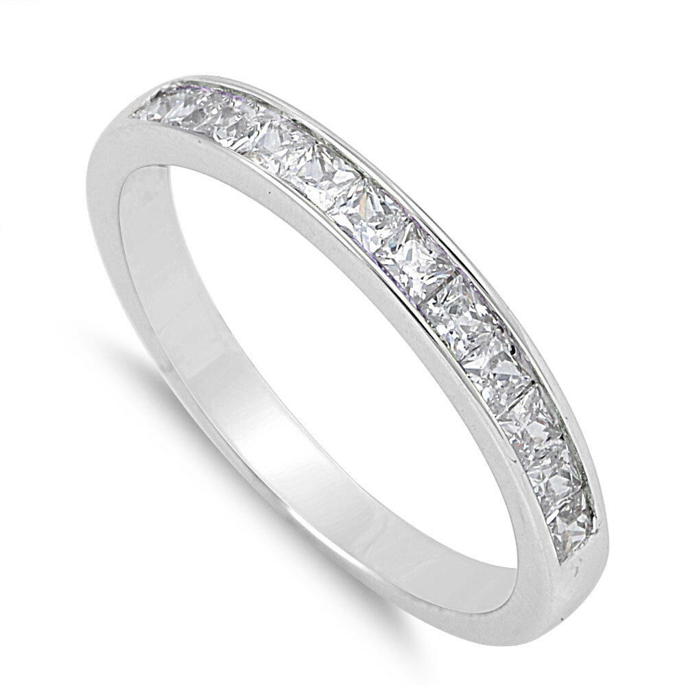 silver princess cut clear cz wedding promise ring size 5 12 new ebay