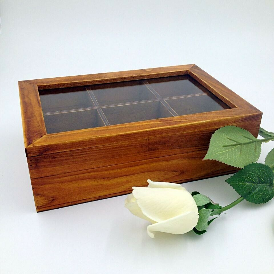 wooden tea storage box organizer container with glass lid 6 compartments ebay. Black Bedroom Furniture Sets. Home Design Ideas