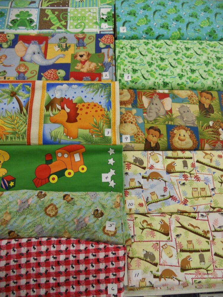 Whimsical novelty children 39 s animal prints panels 100 for Kids novelty fabric