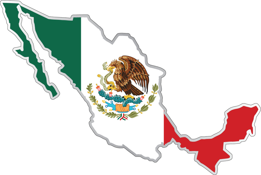 Mexico Country Flag Map Car Bumper Window Mirror Sticker