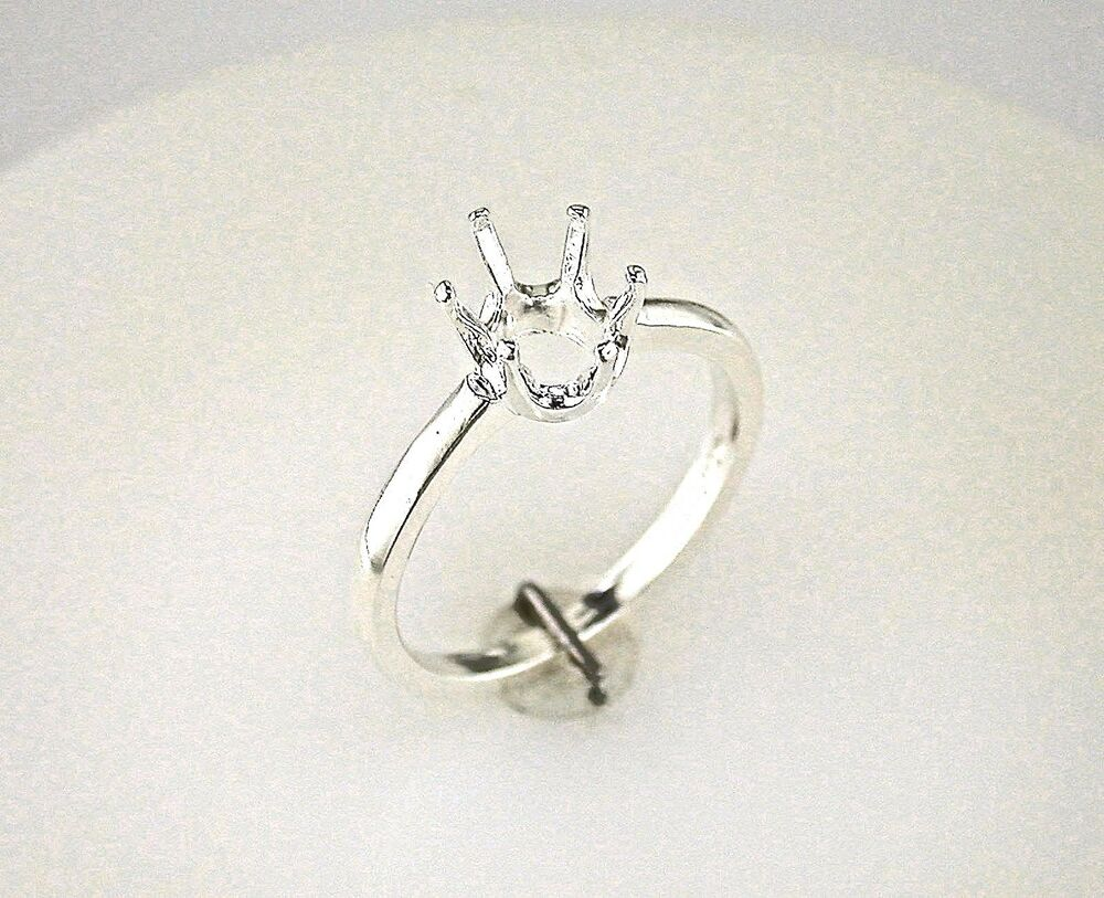 oval six prong heavy shank ring setting sterling silver ebay