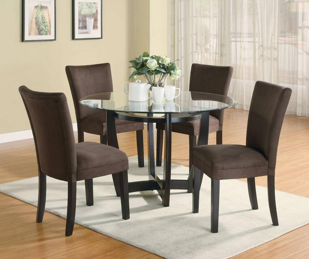 5pc Set Round Dinette Kitchen Table W 4 Microfiber: STYLISH 5 PC DINETTE DINING TABLE & PARSONS DINING ROOM