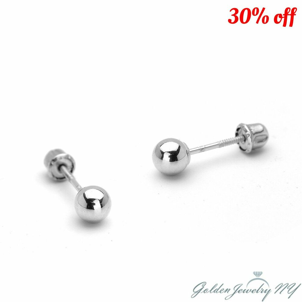 14k Pure Real White Gold Ball Stud Earrings With Screw