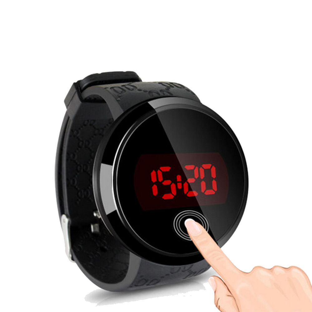 mens led touch screen dial sport silicone waterproof