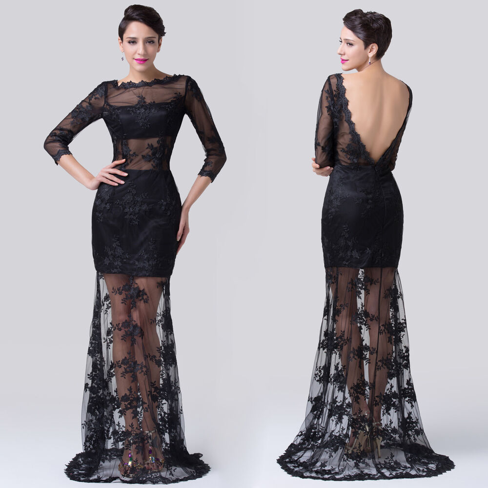 BLACK Lace See Thru Masquerade Formal Evening Ball Gown Prom Party Wedding Dress