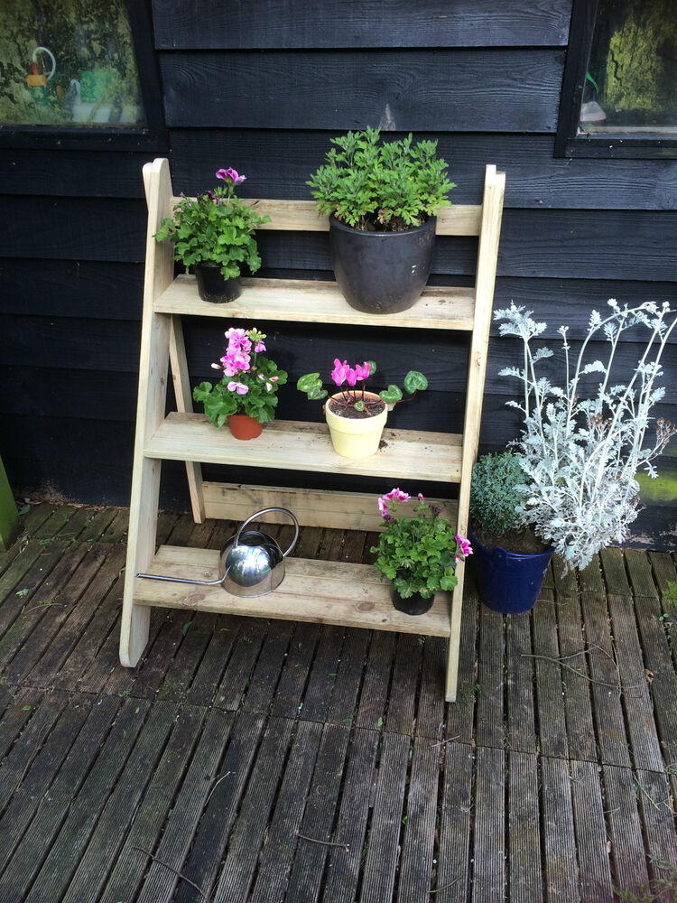 Wooden Plant Stand Outdoor Garden Unit 3 Step Ebay