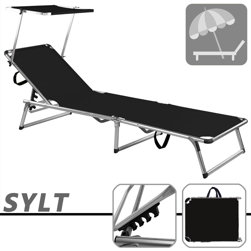 folding sun lounger recliner chair sun shade bed outdoor