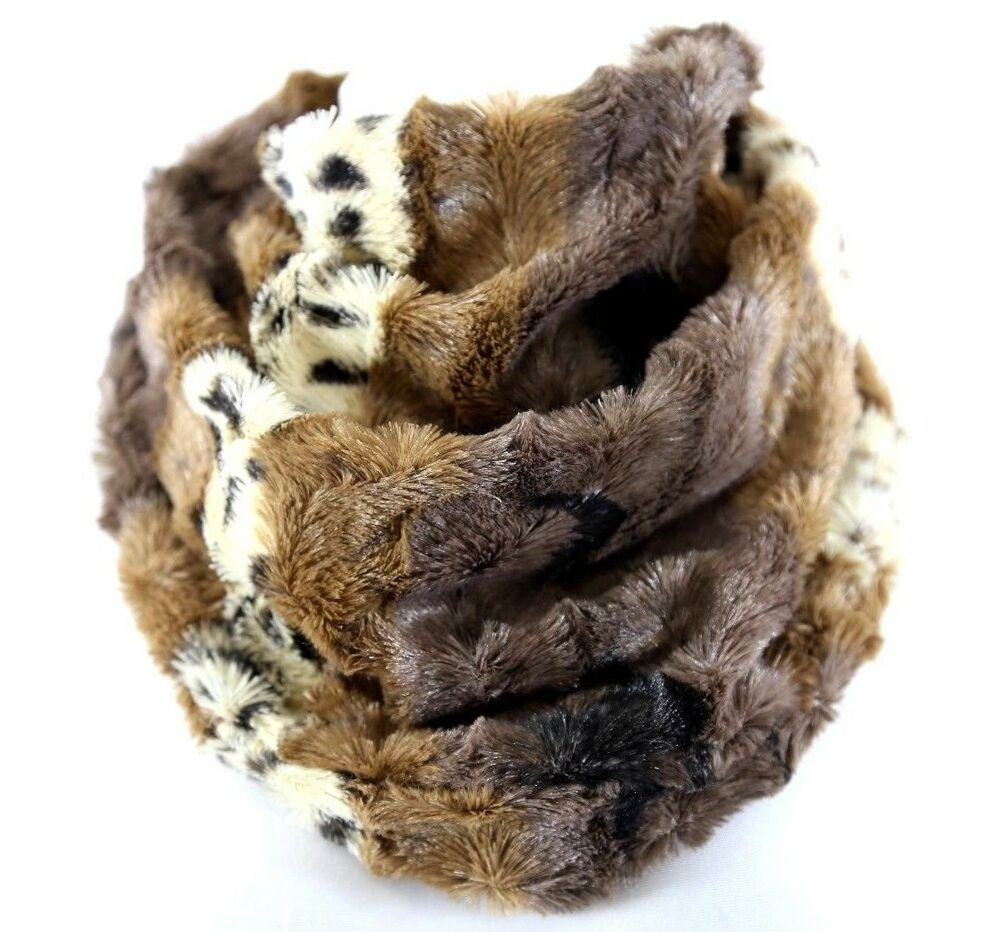B99 Faux Fur Animal Print Soft Brown Ivory Neck Warmer