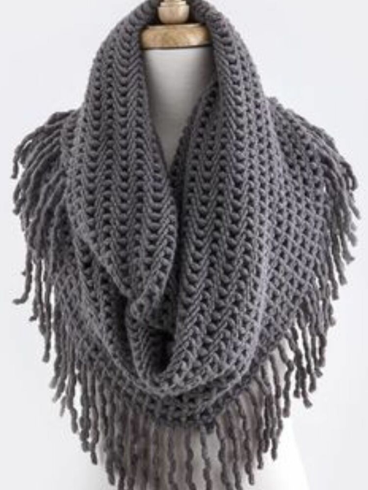 B66 Long Fringe Open Weave Knit Gray Double Infinity Scarf Boutique eBay