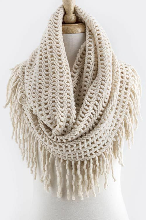 B66 Long Fringe Open Weave Knit Ivory Double Infinity