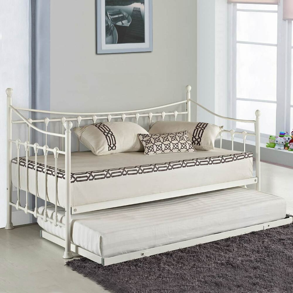 Versailles french metal day bed with free guest pull out for Pull out bed