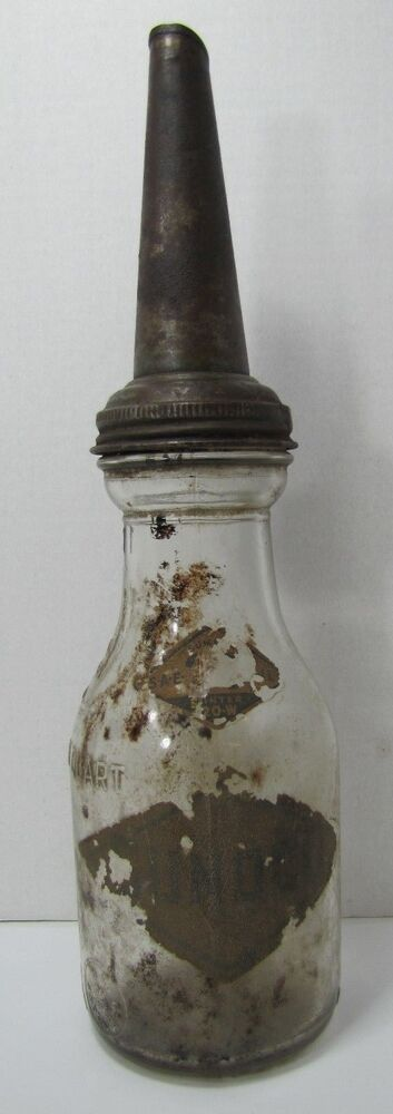 Old Sunoco Glass Motor Oil Bottle Embossed One Quart