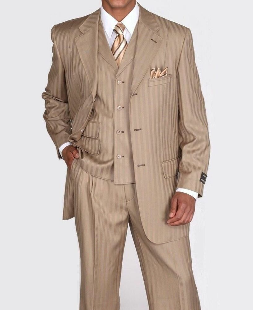 Men S Suits: New Men's 3 Piece Wool Feel Elegant And Classic Stripes
