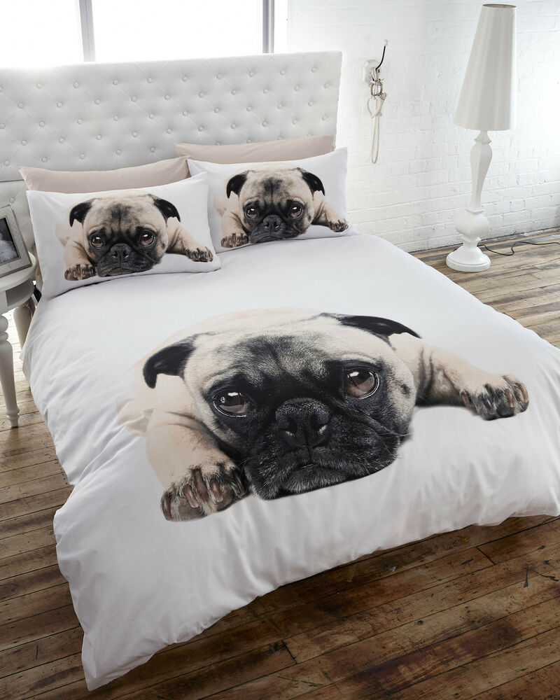 Pug dog puppy cute pooch quilt duvet cover bedding set - Drap housse king size ...