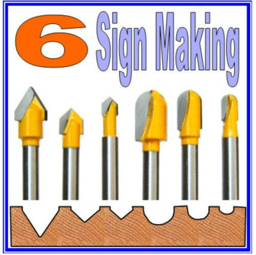 6 pc 1 4 shank lettering and sign making router bit set for Router lettering template sets