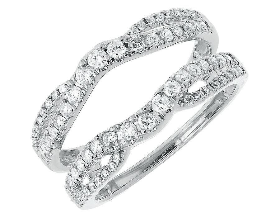 14k white gold ladies round diamond engagement ring With wedding ring jackets