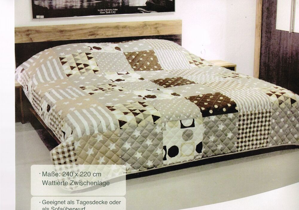 bettdecke bett berwurf sofa berwurf 220 x 240 tagesdecke gesteppt ebay. Black Bedroom Furniture Sets. Home Design Ideas