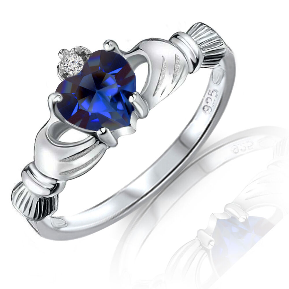 Blue Sapphire Heart Claddagh Sterling Silver Ring 9 Mm