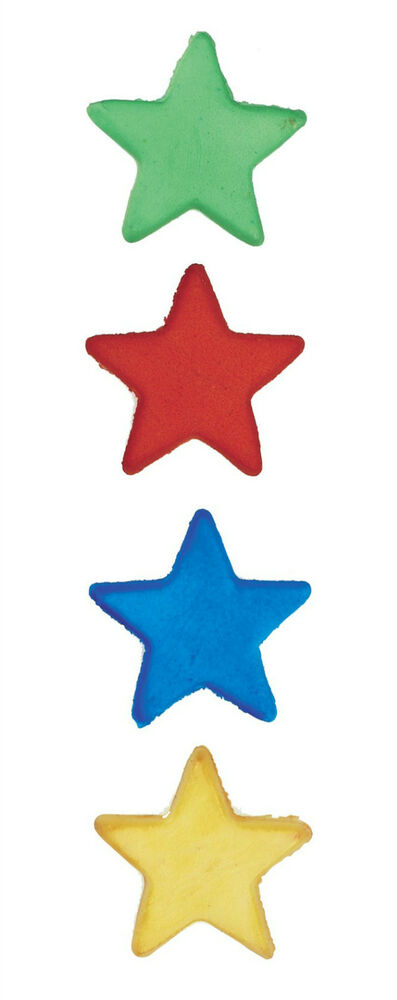 12 EDIBLE SUGAR STAR CAKE DECORATIONS - BLUE RED GREEN ...