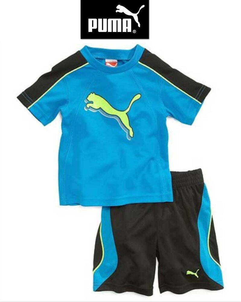 NWT SZ 24 MONTHS PUMA BOYu0026#39;S 2 PC OUTFIT SET TOP/ SHORTS BLUEBLACKYELLOW 2T NEW | eBay