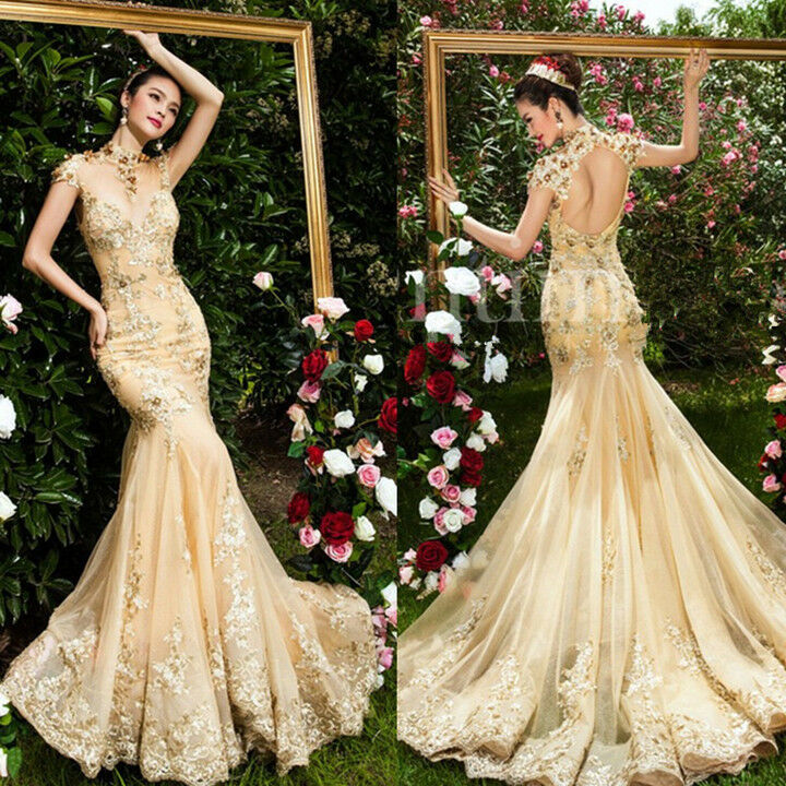 Gold Train Evening Dress Mermaid Quinceanera Formal Prom