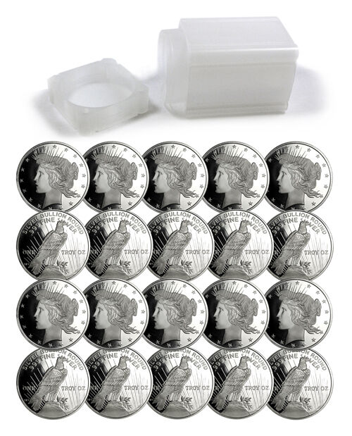 Roll Of 20 Peace Silver Dollar Design 1 Troy Ounce 999