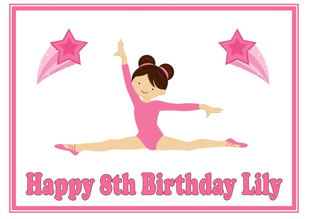 Gymnastic Cake Decorations Uk : ND1 Pink Gymnastics splits girl birthday personalised A4 ...