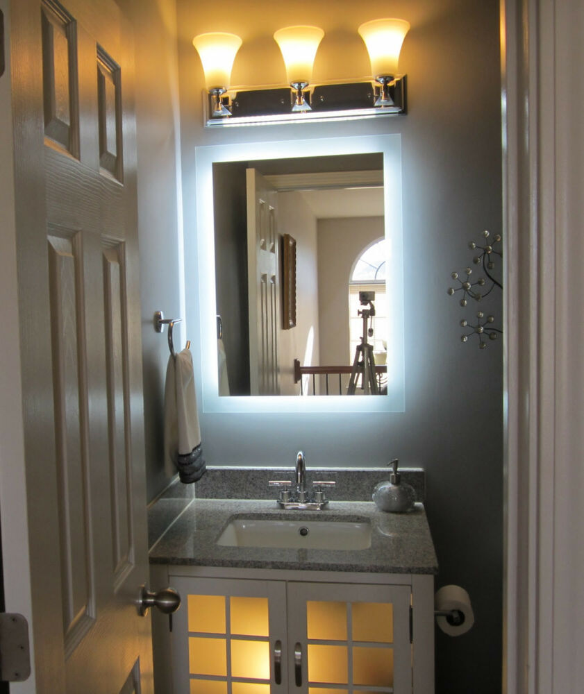 Lighted vanity mirror 24 wide x 32 t mam92432 side lighted led wall mounted ebay Bathroom lighted vanity mirrors