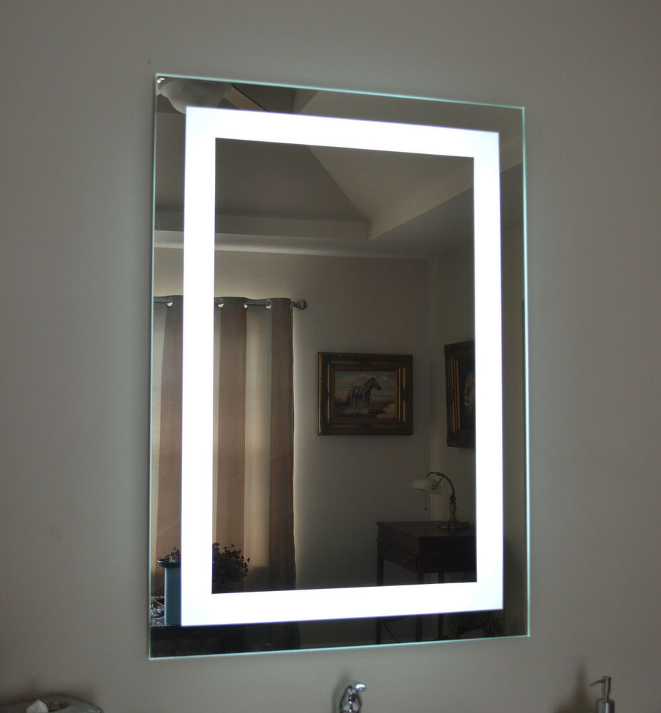 Lighted bathroom vanity make up mirror led lighted wall for Wall mounted mirror