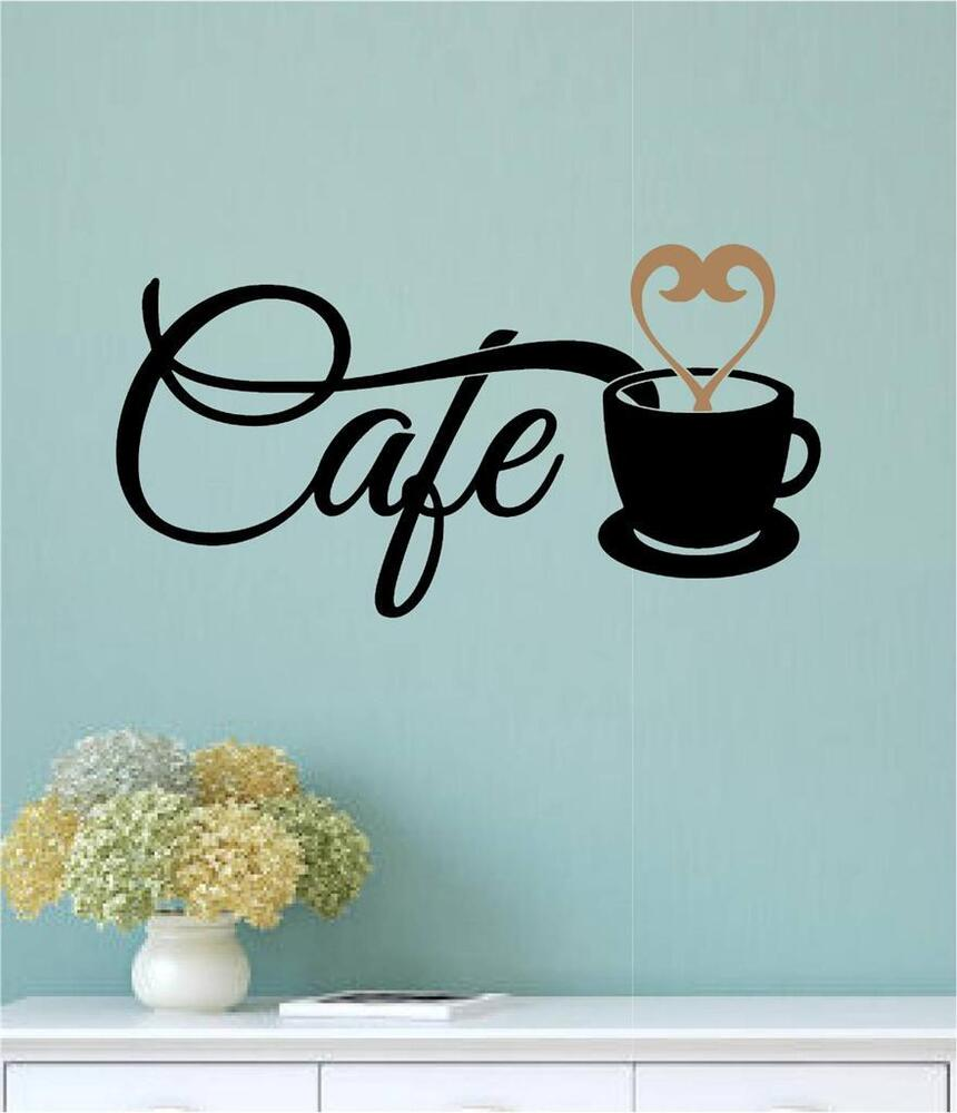 Cafe Coffee Cup Vinyl Decal Wall Sticker Words Letters