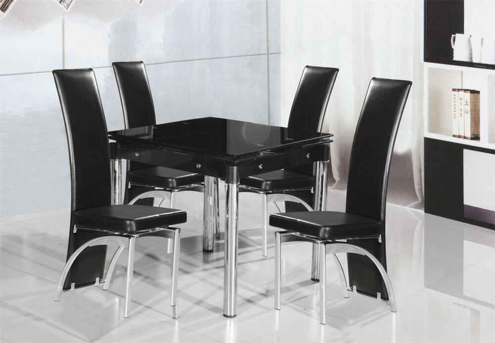 Extending small dining table and 4 chair dining set black for Small black dining table set