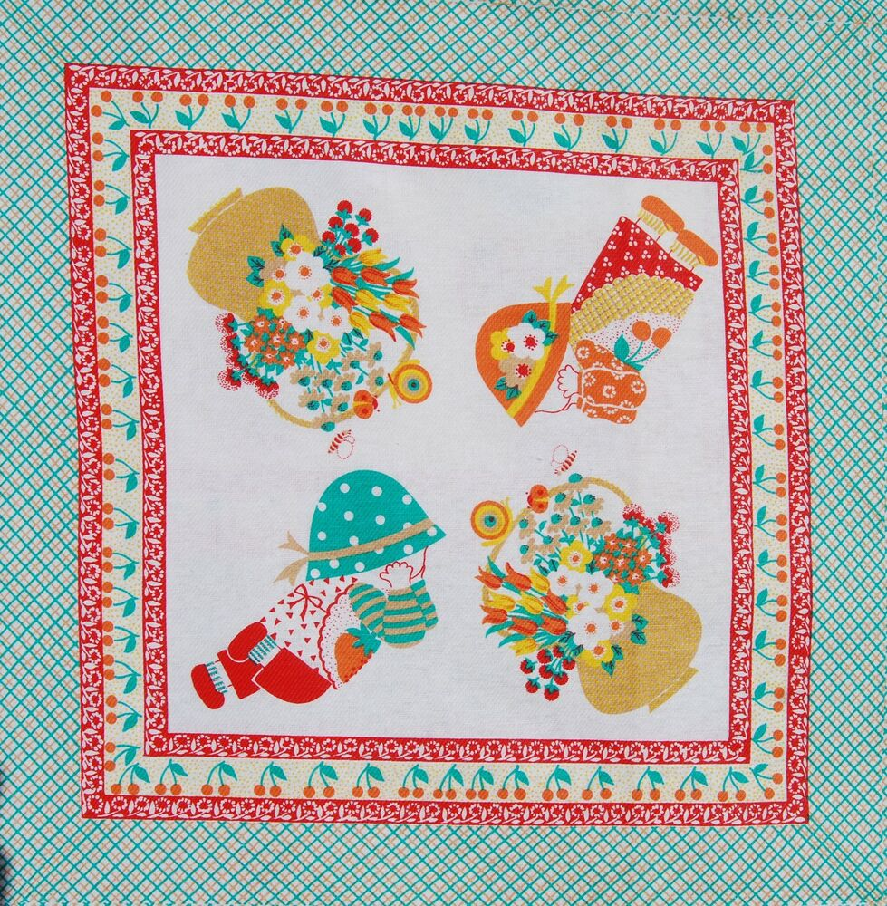 Vintage cotton fabric material novelty panel children for Kids novelty fabric