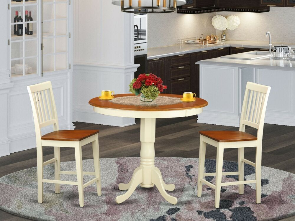3pc counter height pub set table with 2 chairs in