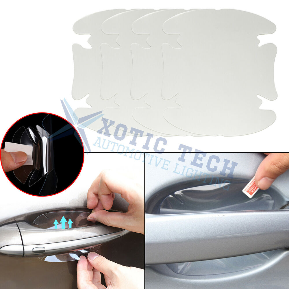 4 x invisible clear adhesive car door handle paint scratch protection film sheet ebay. Black Bedroom Furniture Sets. Home Design Ideas