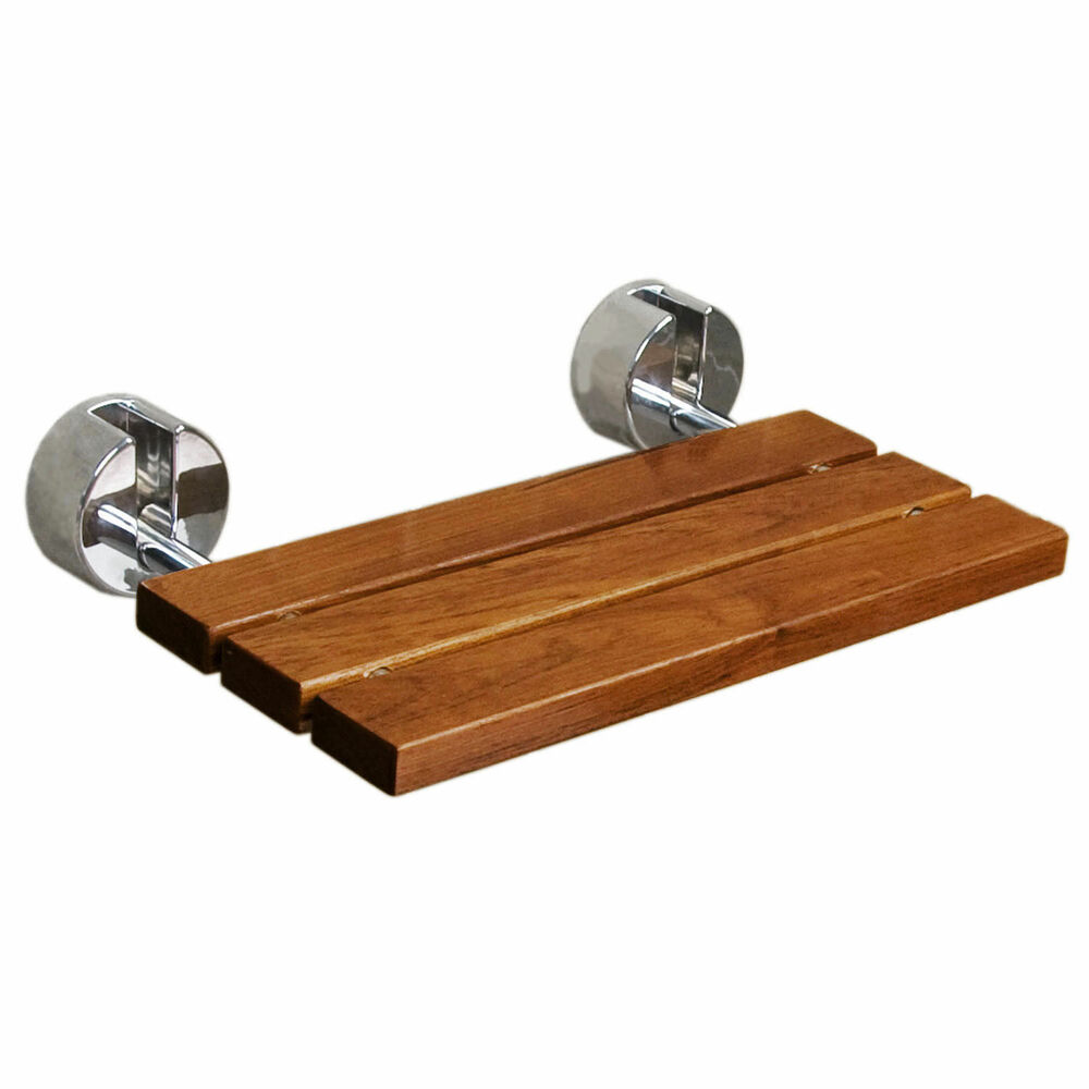 D 7 Teak Wood Wall Mounted Folding Shower Seat Bench By