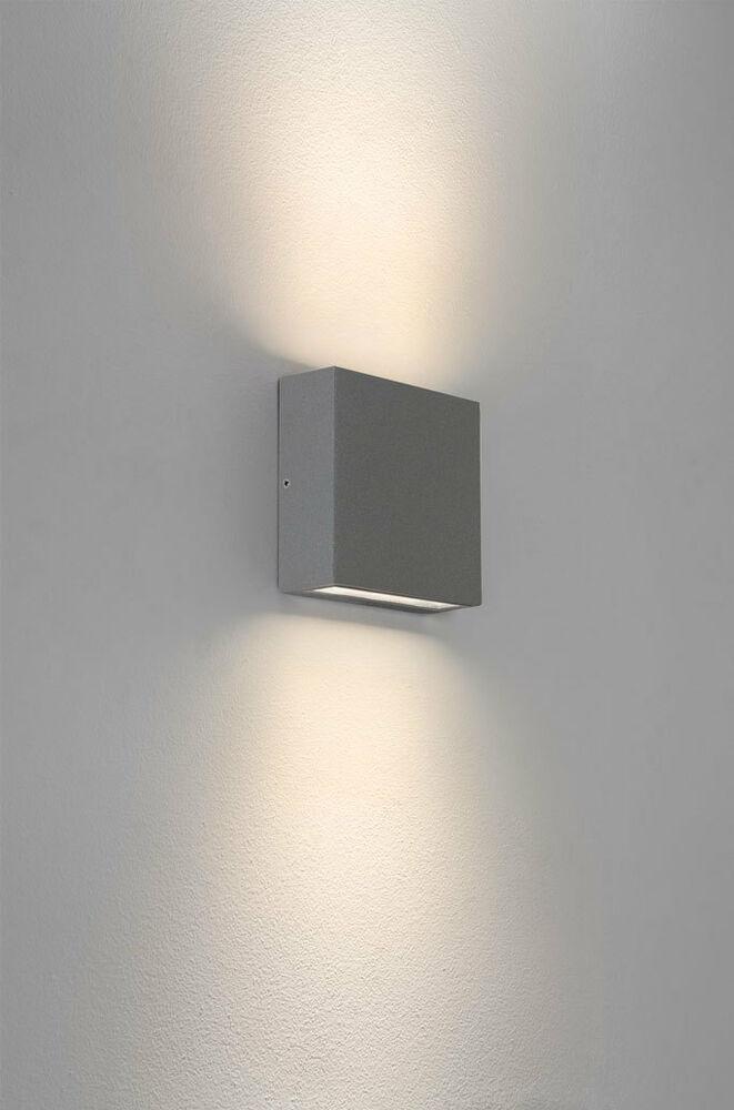 astro elis twin ip54 led rectangular outdoor wall lights up down 6w e27 silver ebay. Black Bedroom Furniture Sets. Home Design Ideas