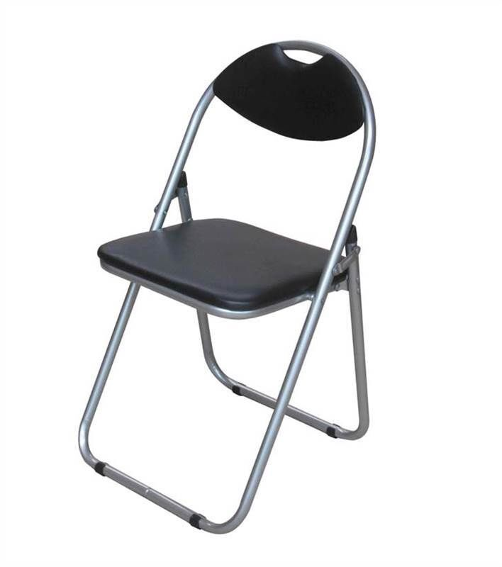 Black Faux Leather Folding Chair Padded Seat & Back Rest puter fice