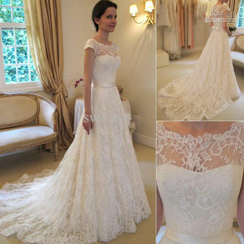 New white ivory lace bridal gown wedding dress custom size for Ebay wedding dresses size 6