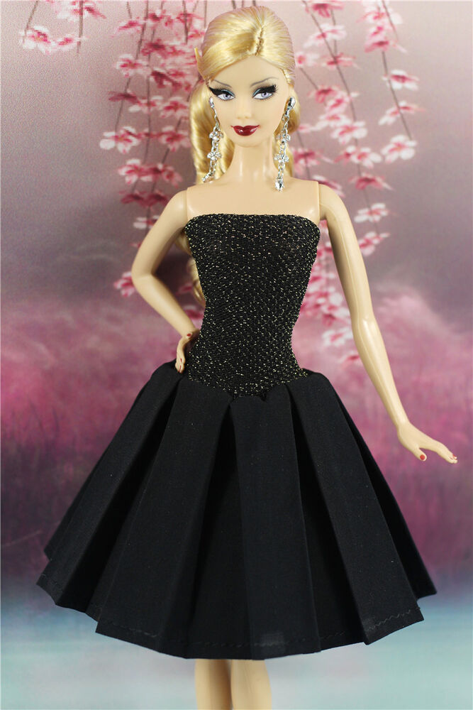 Handmade High Quality Black Dress Vintage Style Clothes Outfit For Barbie Doll