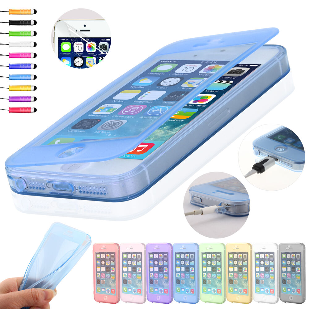 flip soft crystal silicone case cover for iphone 5 5s screen protector ebay. Black Bedroom Furniture Sets. Home Design Ideas