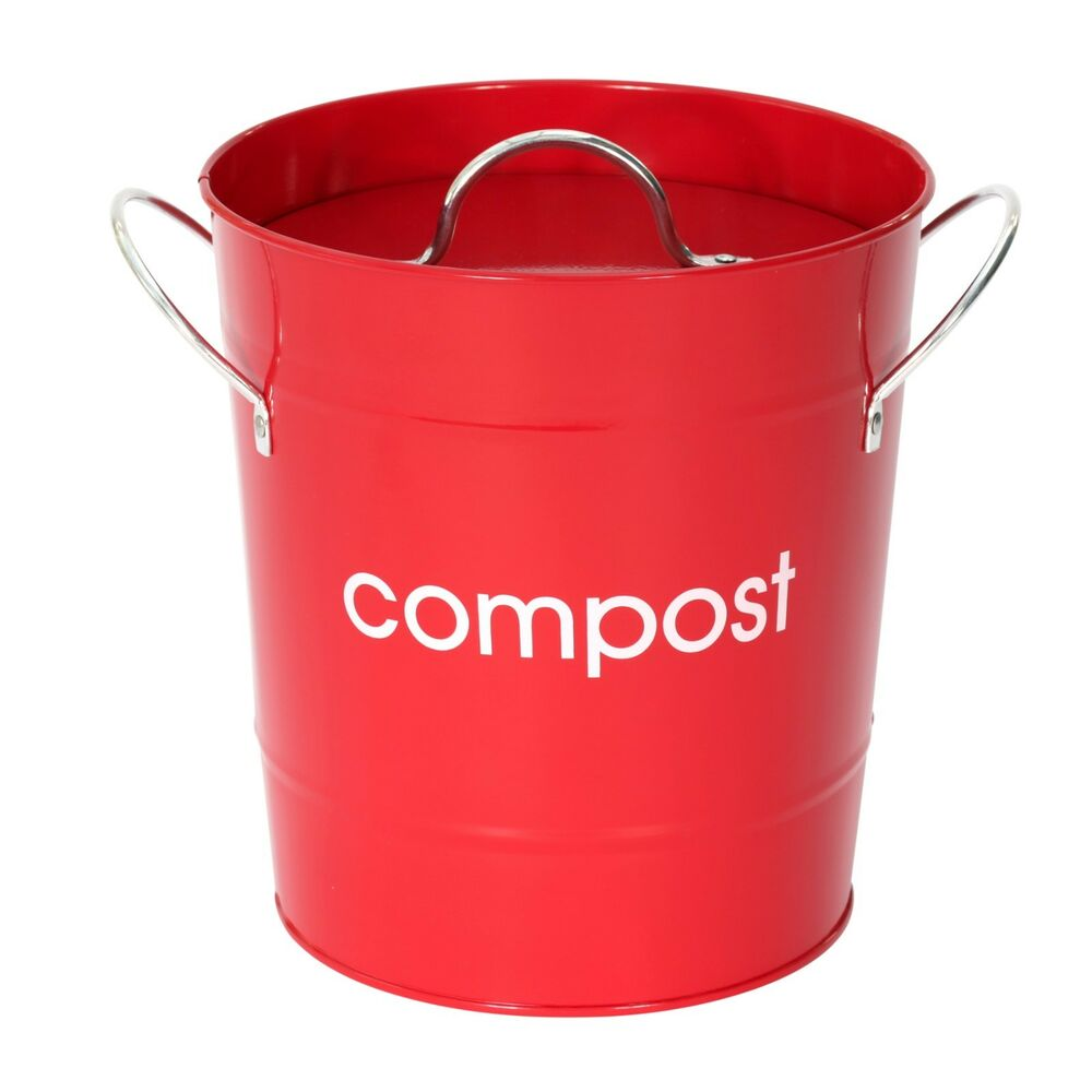 Red Compost Pail / Compost Bin / Kitchen Caddy
