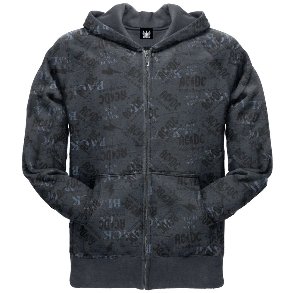 ac dc back in black sublimation print zip hoodie ebay. Black Bedroom Furniture Sets. Home Design Ideas