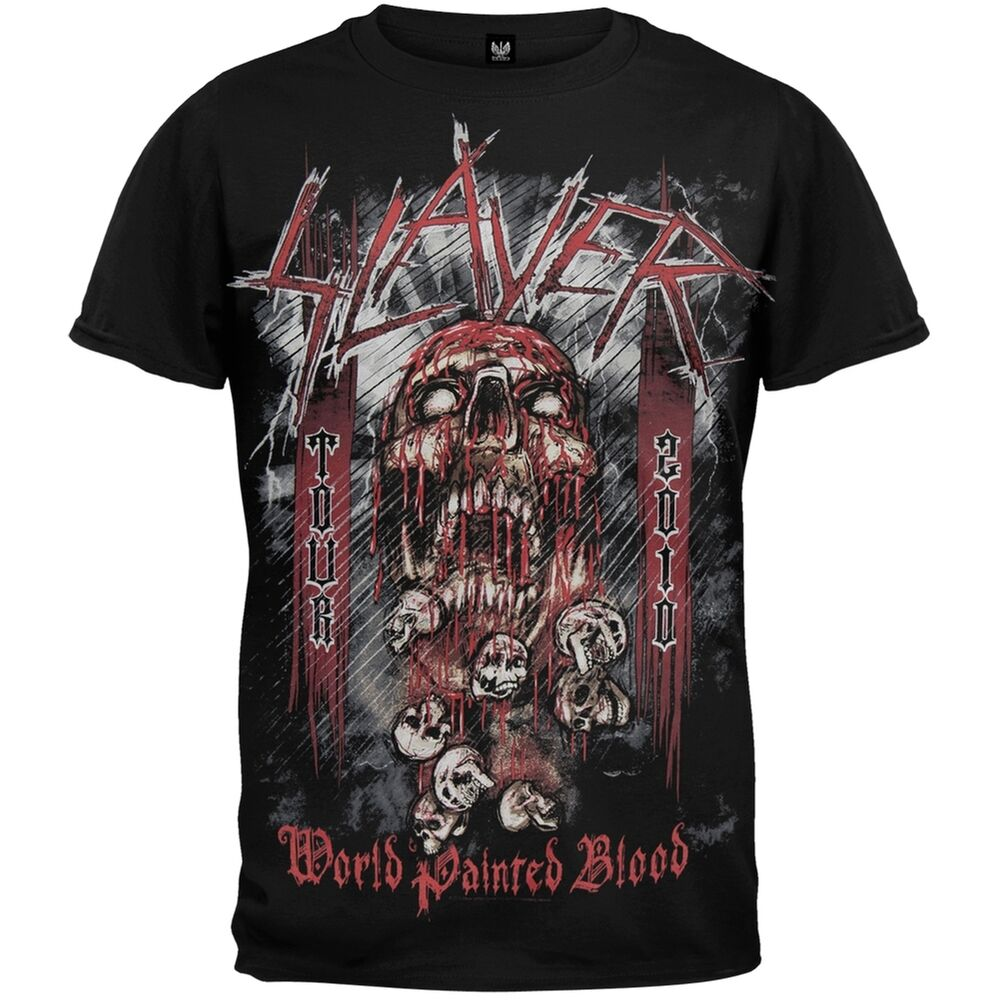 slayer world painted blood all over adult mens t shirt. Black Bedroom Furniture Sets. Home Design Ideas