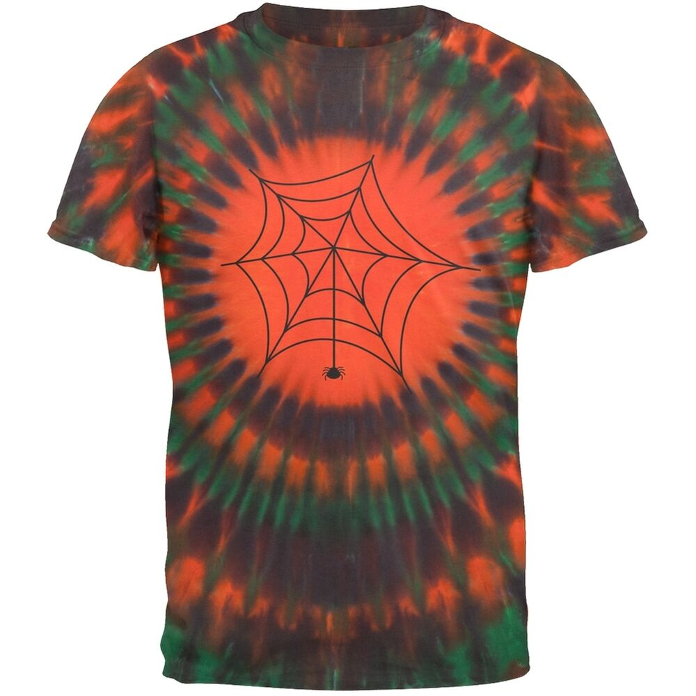 Spider Tie Dye Multicolor Rays Pattern Mens T Shirt