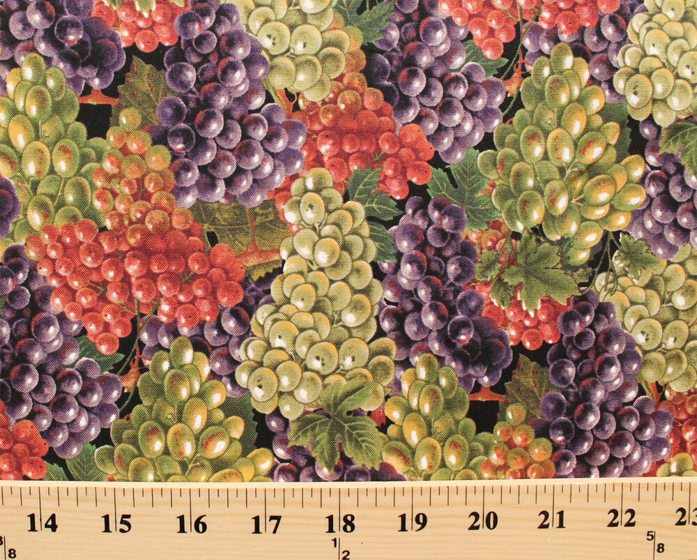 Grapes italian vineyards grape bunches fruit cotton fabric for Buy grape vines for crafts
