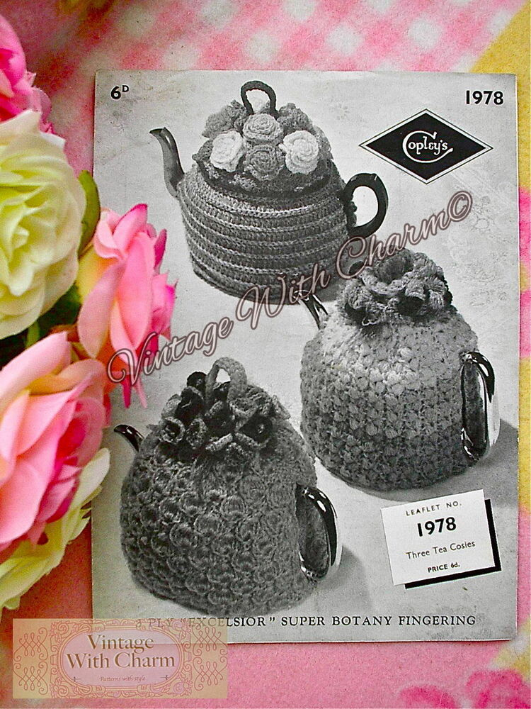 ... Pattern Tea Cosy 2 Styles Roses & Bouquet + Knitted Floral Cosy | eBay