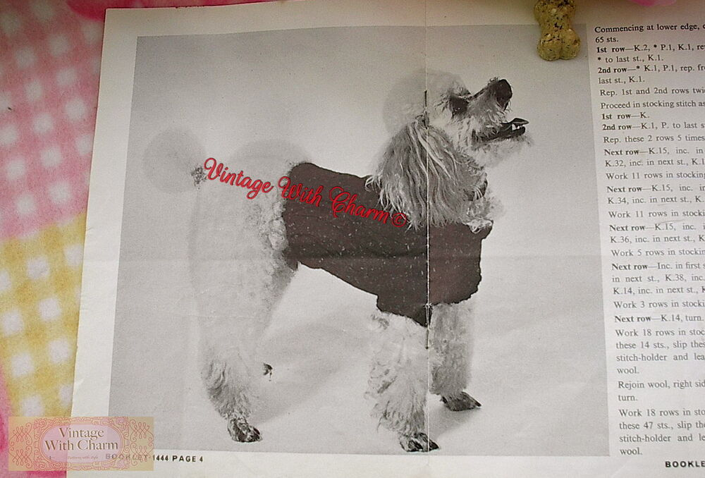 Dog Coat Knitting Pattern Uk : Vintage knitting pattern copy dog coat for small dogs